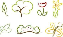 символы природы икон установленные Стоковое Фото