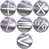 символы серебра математики 3d Стоковое Фото