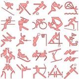 символы спортов красного цвета иконы установленные Стоковое Изображение