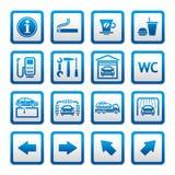 символы станции pictograms газа автомобиля установленные обслуживаниями Стоковая Фотография