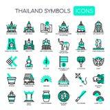 Символы Таиланда, значки пиксела совершенные иллюстрация штока