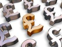 символы фунта стерлинга 3d Стоковая Фотография