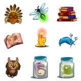 Символы хеллоуина - сыч, маска, насекомое, книга произношений по буквам, мутант формалина, свеча Установленные значки вектора изо Стоковые Изображения