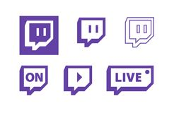 Символы широковещания игры в реальном маштабе времени Twitch видео-, плоский дизайн значка вектора иллюстрация вектора