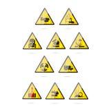 символы ясной опасности стеклянные установленные Стоковые Изображения RF
