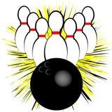 Символ боулинга изолированный на белой предпосылке также вектор иллюстрации притяжки corel иллюстрация штока