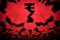 Символ валюты индийской рупии с много отражая изображений себя стоковое изображение