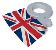 Символ Венеры и флаг Великобритании Стоковая Фотография