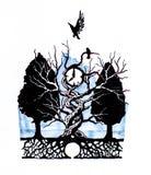 Символ времени Шкала дозора, поднятая от земли ветвями дерева иллюстрация штока