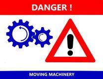 Символ двигая машинного оборудования и знак опасности восклицательного знака Извещение о безопасности иллюстрация штока