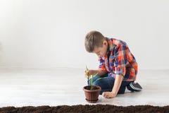 Символ дня земли, ребенок сидит вниз завод Стоковая Фотография