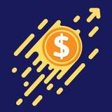 Символ доллара в плоском дизайне для денег интернета Дворняжка монетки символа Стоковые Фото
