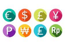 Символ евро, доллара, фунта, иен, рубля, выигрывать, и рупии бесплатная иллюстрация