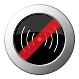 Символ звука или вибрации - кнопка металла запрета круглая иллюстрация вектора