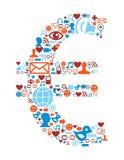 символ икон евро установленный средствами социальный бесплатная иллюстрация