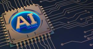 Символ искусственного интеллекта на переводе монтажной платы 3d стоковое изображение