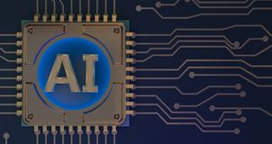 Символ искусственного интеллекта на переводе монтажной платы 3d стоковые фотографии rf