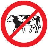 Символ коровы запрещенный мясом Стоковое фото RF