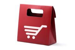 символ красного цвета бумаги корзины мешка Стоковое Фото