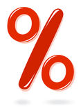 символ красного цвета процента Стоковое Изображение RF