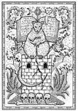 Символ крысы в рамке Страшная мышь сидя на башне с книгой и мистическими знаками Стоковые Фотографии RF