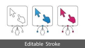 Символ мыши компьютера указателя - план ввел значок в моду - Editable ход - иллюстрация вектора - изолированный на белой предпосы иллюстрация штока
