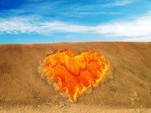 символ песка сердца Стоковое Изображение