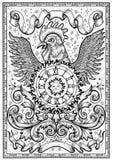 Символ петуха с часами, солнцем, барочными украшениями и лентами виньетки в рамке Стоковые Фото