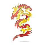 символ пожара дракона Азии глянцеватый Стоковые Фотографии RF