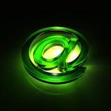 символ почты e стеклянный зеленый Стоковая Фотография RF