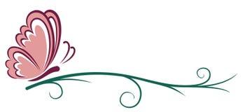 Символ розовой бабочки иллюстрация вектора
