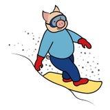 Символ 2019 свиньи Snowboarder иллюстрация вектора