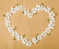 Символ сердца сделанный из белых цветков и бутонов весны на предпосылке коричневой бумаги Плоское положение Стоковое Фото