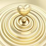 Символ сердца сделанный из жидкостного металла золота Стоковое Изображение RF