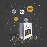 Символ скидки пятницы черноты специального предложения с белой хозяйственной сумкой, ярлыками летая и confetti Стоковая Фотография RF