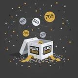 Символ скидки пятницы черноты специального предложения с белой подарочной коробкой, ярлыками летая и confetti Стоковые Фото