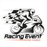 Символ события гонок мотоцикла Стоковые Изображения RF