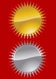 символ солнца золота серебряный Стоковое Изображение