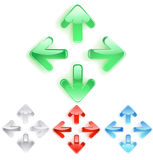 символ стрелок стеклянный ровный иллюстрация вектора