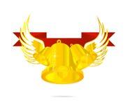 символ тесемки золота колокола красный Стоковая Фотография