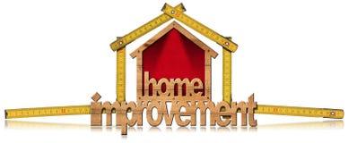 Символ улучшения дома с деревянным правителем Стоковое Фото