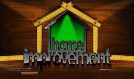 Символ улучшения дома с деревянным правителем Стоковая Фотография