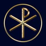 Символ Хи-Rho на сини Стоковая Фотография