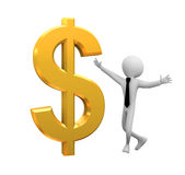 символ человека доллара 3d Стоковая Фотография
