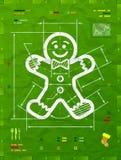 Символ человека пряника как техническая светокопия чертежа Стоковые Фотографии RF