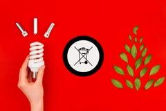 Символ электрической лампочки и мусорного ведра Cfl стоковое изображение rf