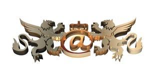 символ электронной почты 3d королевский Стоковое Изображение RF