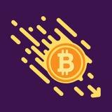 Символ Bitcoin в плоском дизайне для денег интернета Символ cr Стоковые Изображения