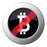 Символ Bitcoin, кнопка металла запрета круглая, белый значок иллюстрация вектора