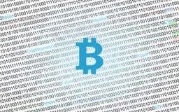 Символ Bitcoin на цифровой предпосылке бинарного кода иллюстрация штока